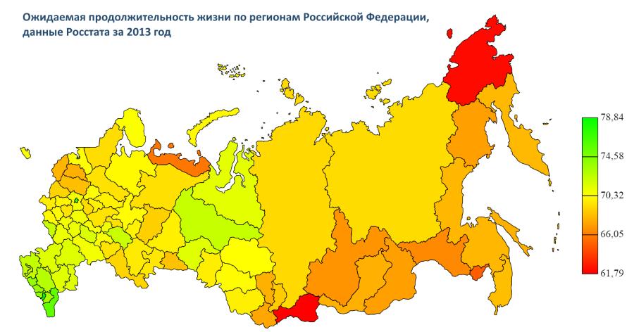 Средняя продолжительность жизни в России на карте
